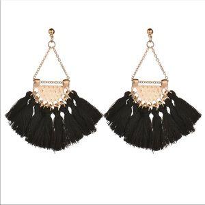 Large Black Tassel Drop Earrings
